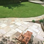 Indian sandstone patio & Donegal quartz crazy paved path