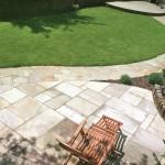 Indian sandstone patio & Donegal quartz crazy paved path