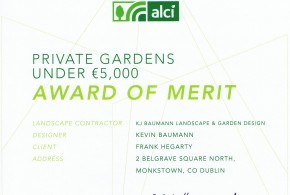 Two of Kevin Baumanns clients win garden awards for exceptional Garden Design & Landscaping at the 2014 A.L.C.I. Awards, Belfast Titanic Centre