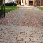 Gravel and granite cobble driveway