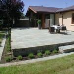 Raised limestone patio