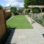 Limestone patio and path