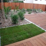 Decking with grass area in Galloping Green, Dublin, Ireland.