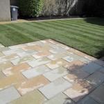 Limestone patio and new lawn