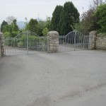 Granite pillars, galvanised gate double entrance