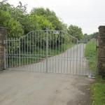 Dunlavin stone pillars, galvanised gates