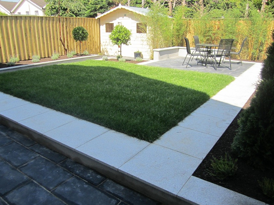 Silver granite path, black limestone and new lawn