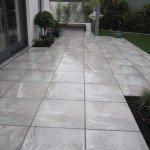 Polished limestone patio