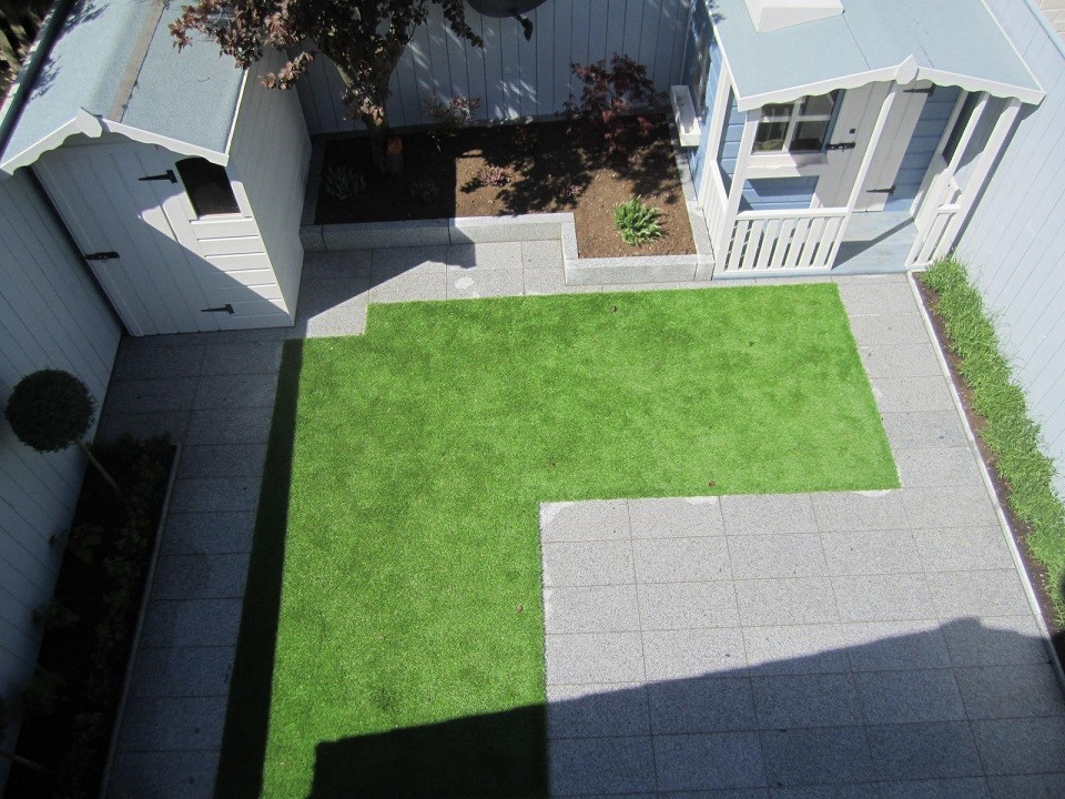 Synthetic grass lawn, patio & paths