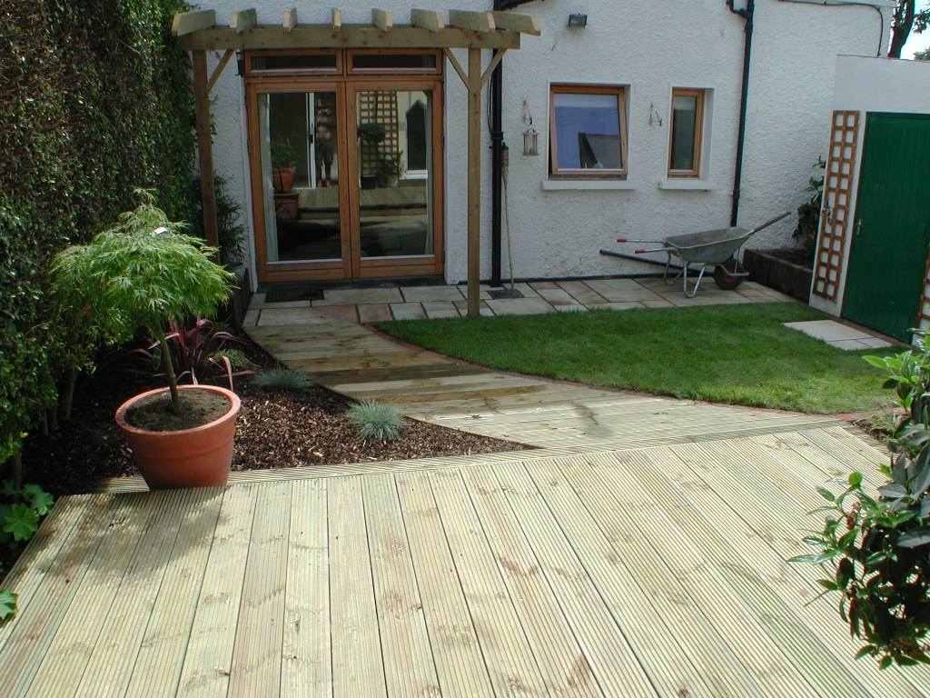 Decking outdoor lighting landscaping design monkstown for Celtic garden designs