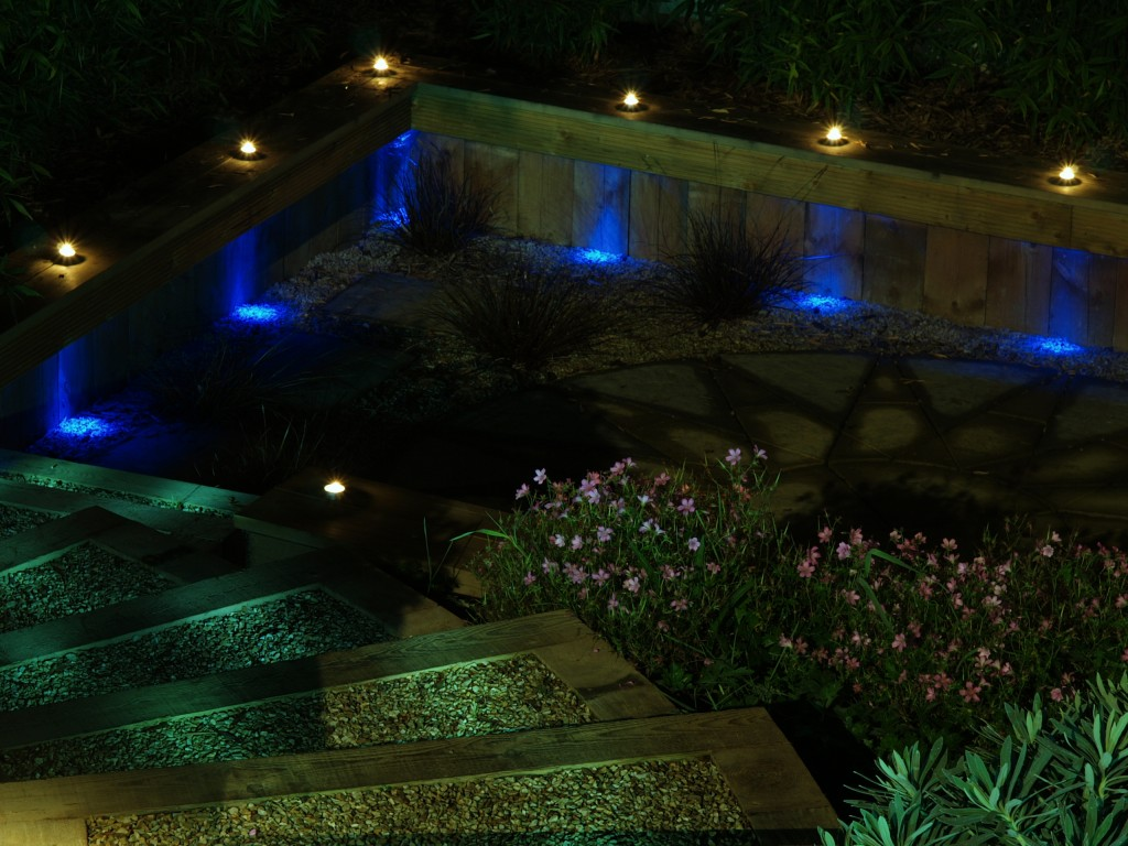 Shankill dublin ireland garden with outdoor garden lighting at night time landscaping - Night yard landscaping with outdoor lights ...
