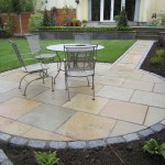 Yellow limestone with silver granite surround