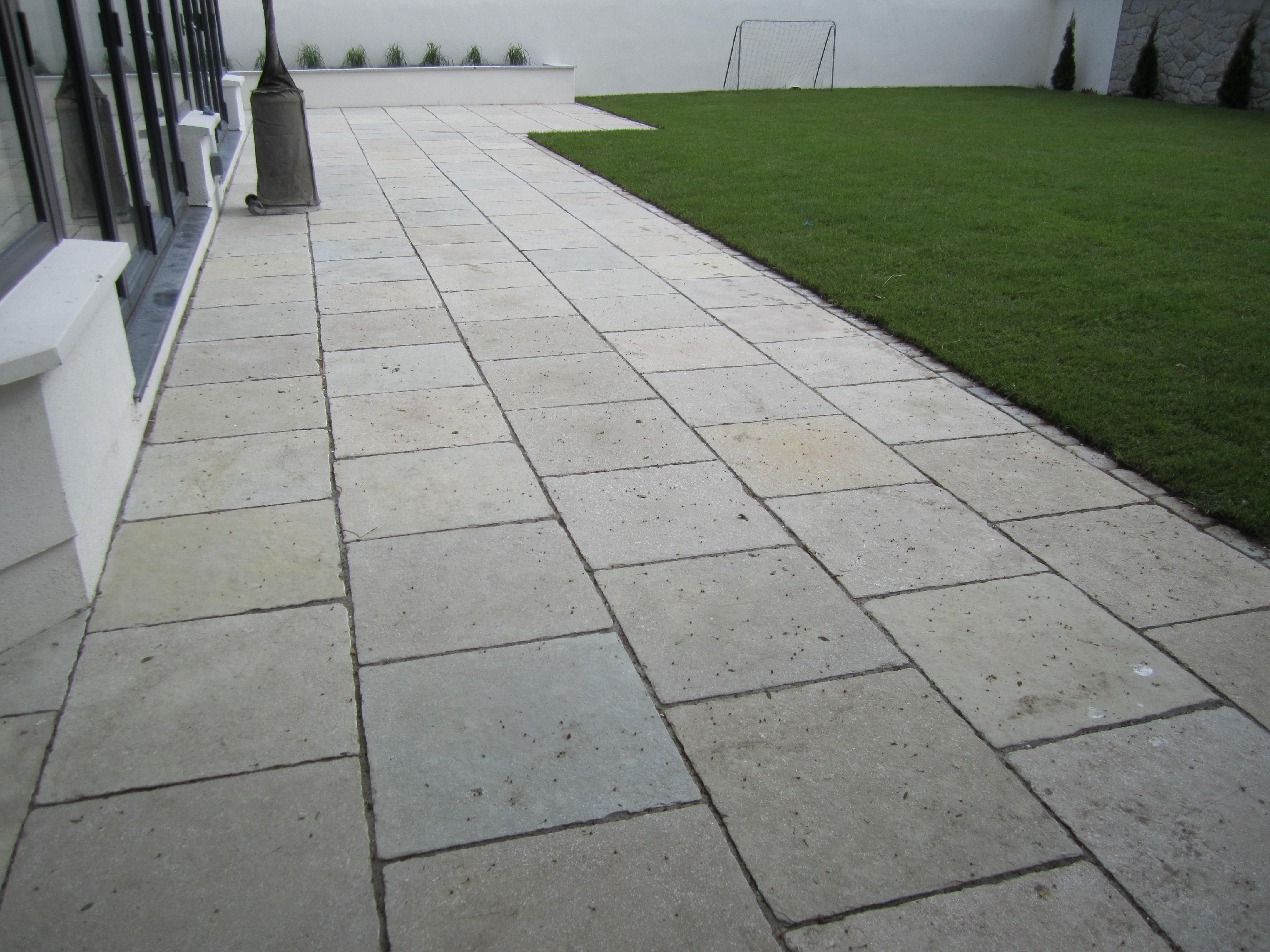 Image gallery limestone patio for Cleaning concrete patio slabs