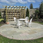 Limestone circle with Indian sandstone sett surround