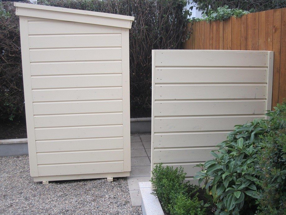Custom built Baumanns bike shed and wheelie bin screen