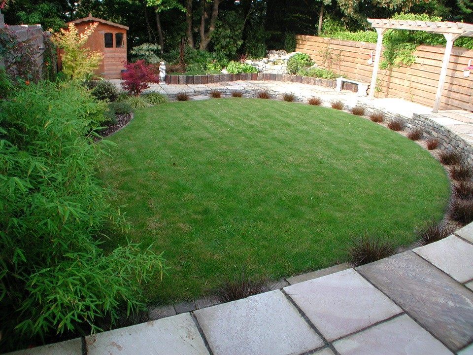 New lawn with red grass accentuating curve