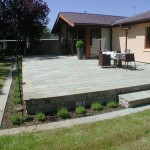 Raised limestone patio