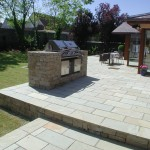 Limestone patio and gas barbecue