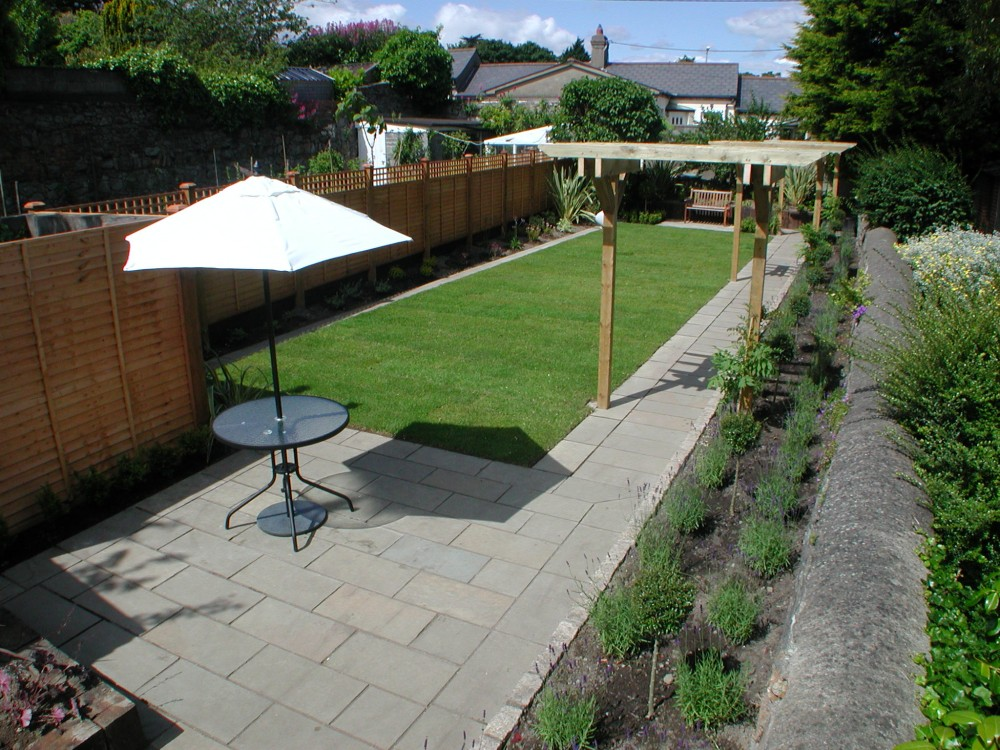Limestone paving and pergolas