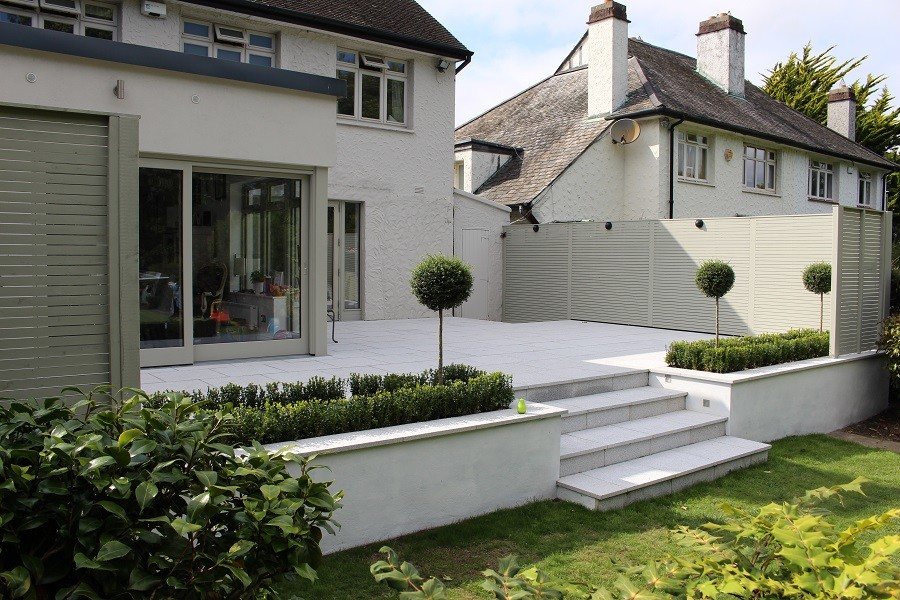 Raised patio formal beds