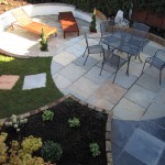 Raised beds and sunken seating area
