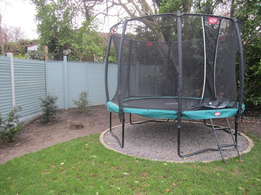 Dedicated weed free pea gravel area for Trampolene