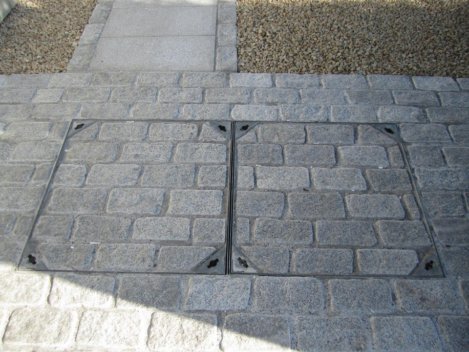 Two recessed Man holes
