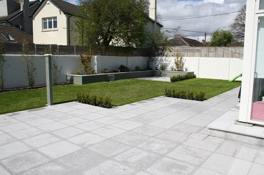 Granite patio and raised bed