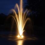 Outdoor Garden Lighting with a Fountain