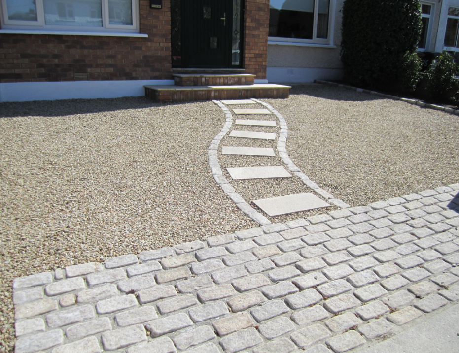 gravel driveway with stepping stones