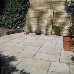 Limestone patio & granite ball water feature