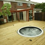 Jacuzzi and Decking in a Garden Design